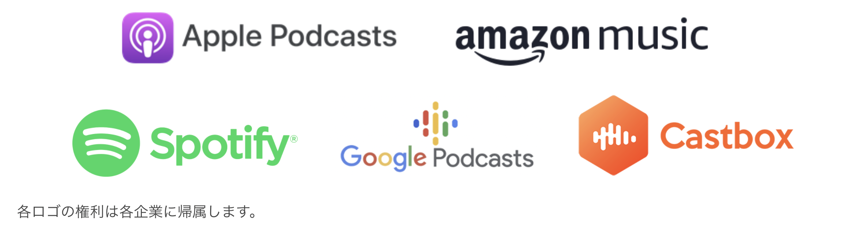 ポッドキャスト(Apple Podcasts, amazon music, Spotify, Google Podcasts, castbox)