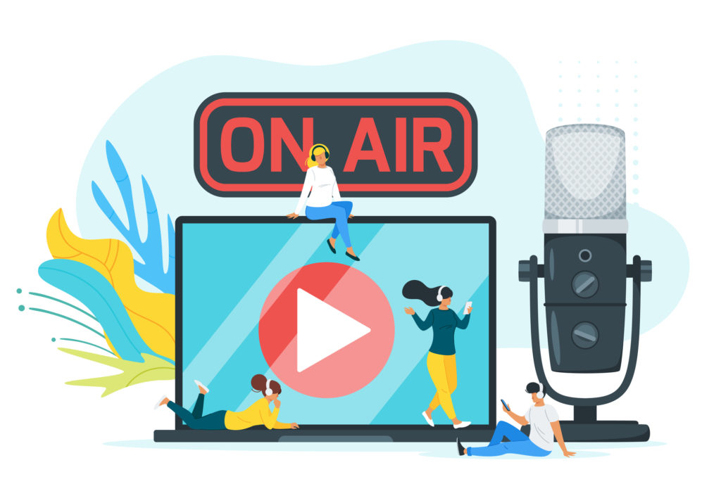 On air color flat vector illustration. Youth listening to online podcast, music cartoon characters. Young listeners with headphones and gadgets. Internet technology isolated design element